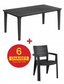 TABLE FUTURA + 6 CHAISES IBIZA GRAPHITE  Mobilier de jardin