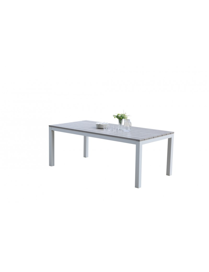 TABLE TAMPA 100-200 8PLACES ALU BLANC  TablesWILSA