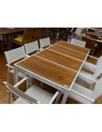 TABLE MAZZANI 200X100CM TECK-ALU LAQUE BLANC  TablesAMECA