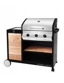 BBQ GAZ MERIDIAN WOODY 3B+SB  Barbecue au gazSOLCARBON
