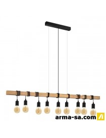 TOWNSHEND PENDANT WOOD STEEL BROWN BLACK  PlafonniersEGLO