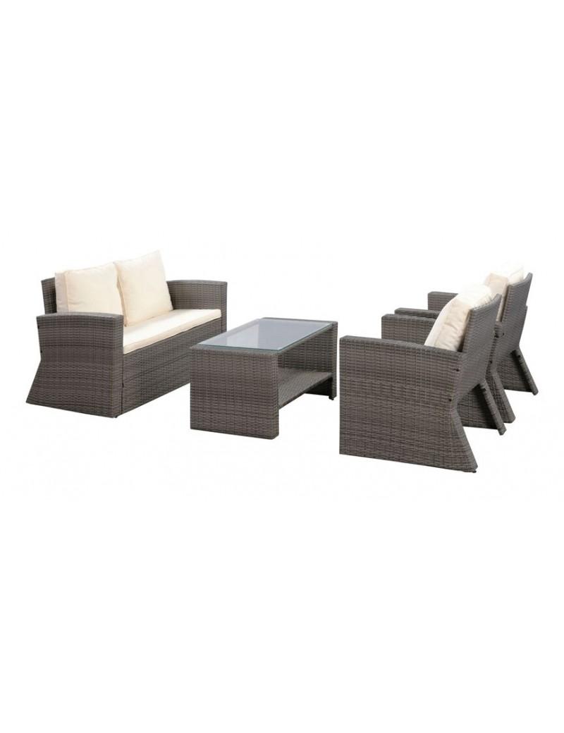 Set lounge SAVONA Wicker + coussins gris  Mobilier de jardinSANS MARQUE