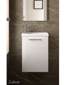 Meuble MICRO 400 blanc brillant + Vasque  Armoires de toilette