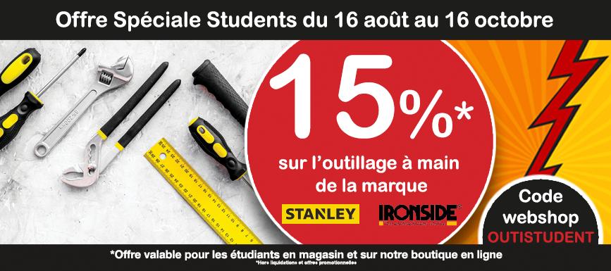 Action spéciale étudiants 15% sur l'outillage à main Ironside et Stanley