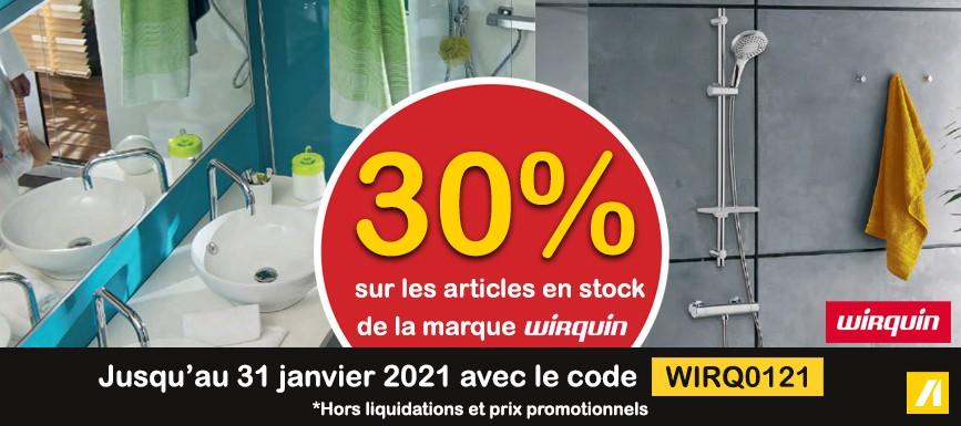 SANITAIRE 30% sur les articles en stock de la marque WIRQUIN
