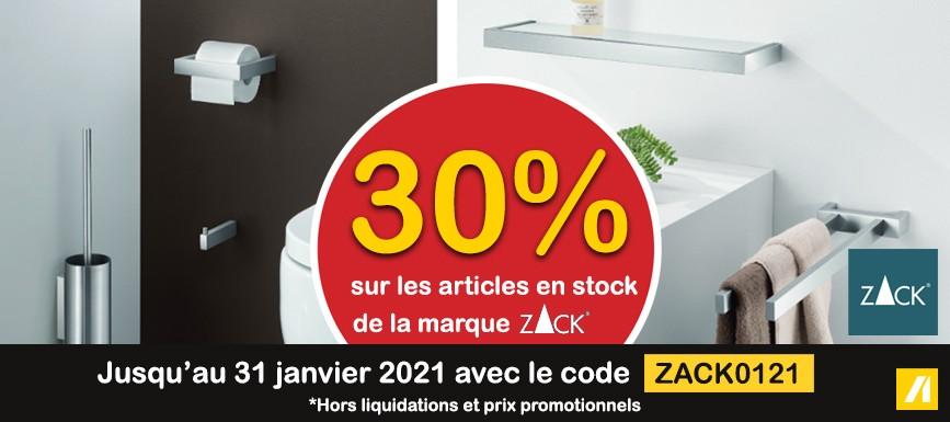 SANITAIRE 30% sur les articles en stock de la marque ZACK