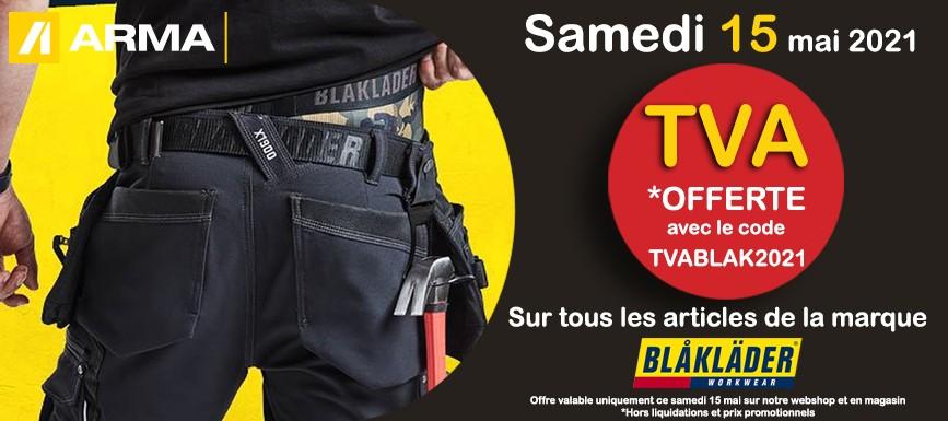 TVA offerte sur les articles de la marque BLAKLADER samedi 15 mai