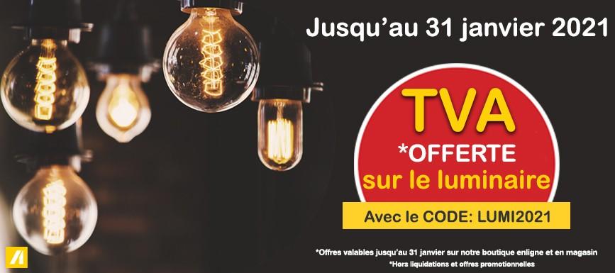 TVA offerte sur le luminaire jusqu'au 31 janvier 2021
